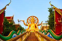 Religion, Thailand. Wat Phra Yai, Big Buddha Temple At Samui. Religion In Thailand. Golden Statue Of Buddha With Dragon Staircase In Wat Phra Yai, The Big Stock Photography