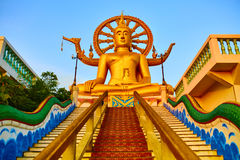 Religion, Thailand. Wat Phra Yai, Big Buddha Temple At Samui. Religion In Thailand. Golden Statue Of Buddha With Dragon Staircase In Wat Phra Yai, The Big Stock Images