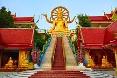 Religion Thailand Wat Phra Yai stor Buddhatempel på Samui Royaltyfri Foto