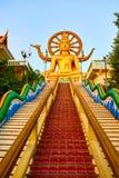Religion Thailand Wat Phra Yai stor Buddhatempel på Samui Royaltyfri Fotografi