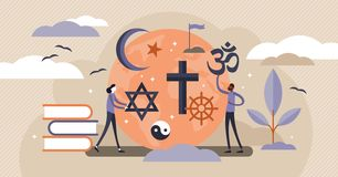 Religion vector illustration. Flat tiny symbolic element persons concept.
