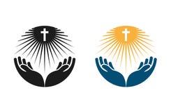 Religion vector logo. Church, Pray or Bible icon Royalty Free Stock Photography
