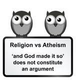 Religion verses Atheism. Monochrome religion verses atheism sign isolated on white background royalty free illustration