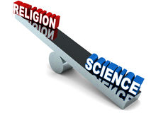 Religion vs science. Religion versus science on a chrome balance, science text taking a heavier side with logic and reasoning winning the argument stock illustration