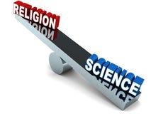 Religion vs vetenskap stock illustrationer