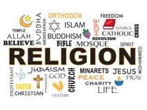 Religion word background Royalty Free Stock Photos