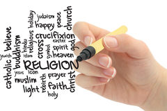 Religion word cloud. Drawn by hand Stock Photos