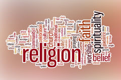 Religion word cloud with abstract background Stock Photo