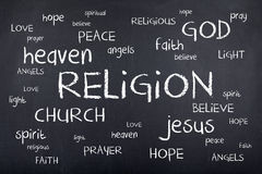 Religion Word Cloud on Chalkboard Stock Images