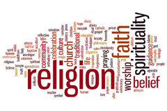 Religion word cloud. Religion concept word cloud background Royalty Free Stock Images