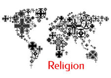 Religion world map with christianity cross symbols Royalty Free Stock Image