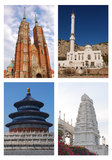 Religion of the World Photo Collage. Places of Worship for Religion of the World Photo Collage Royalty Free Stock Photo