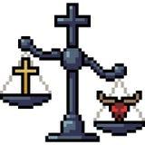 Religione del giudice della scala di arte del pixel di vettore royalty illustrazione gratis