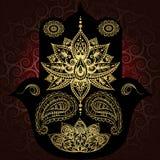Religione e cultura dell'India buddhism Amuleto dell'amuleto del hamsa illustrazione vettoriale