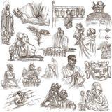 Religione, vita di spirito, religiosa - una collezione disegnata a mano su w illustrazione vettoriale