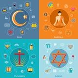 Religioner sänker uppsättningen Arkivbild