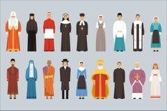 Religionfolkuppsättning, män och kvinnor av olika religiösa bikter i traditionell kläder stock illustrationer
