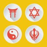 Religioni della parte 2 piana delle icone del mondo Fotografia Stock Libera da Diritti