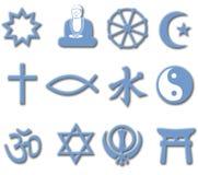 Religioni importanti del mondo dell'insieme di simbolo di religione 3D Immagini Stock Libere da Diritti
