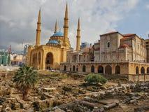 Religioni vicine insieme Beirut Libano del chruch della moschea fotografia stock libera da diritti