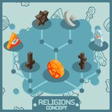 Religions color isometric concept icons. Vector illustration, EPS 10 Stock Photography