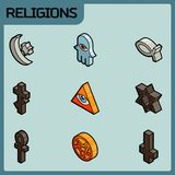 Religions color outline isometric icons. Vector illustration, EPS 10 Royalty Free Stock Photography