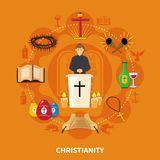 Religions Flat Composition Stock Image