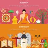 Religions Flat Flyer Set Royalty Free Stock Image