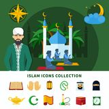 Religions Icon Set. Religions flat icon set composition with isolated icons collection about Islam religion vector illustration Stock Photos