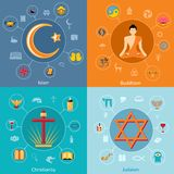 Religions flat set. Religions icon flat set of islam buddhism christianity judaism symbols  vector illustration Stock Photography