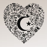 Religions Heart Shape - Islam. A heart shape made of religions icons Stock Photography