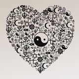 Religions Heart Shape - Taoism. A peace symbol made of religions icons Royalty Free Stock Image