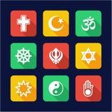 Religions-Ikonen-flaches Design Lizenzfreie Stockfotografie