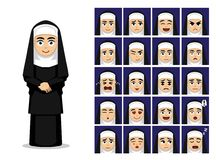 Religions-katholische Nonnen-Cartoon Emotion Faces-Vektor-Illustration vektor abbildung