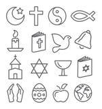 Religions-Linie Ikonen Lizenzfreies Stockbild