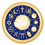 Religions Of The World Mandala, Dove Of Peace Stock Photo