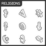 Religions outline isometric icons. Vector illustration, EPS 10 Stock Photo