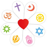 Religions Peace Flower Heart Symbol. Religion symbols that form a flower with a heart as a symbol for religious unity or commonness - Islam, Buddhism, Judaism Stock Photos