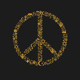 Religions Peace Symbol. A peace symbol made of religions icons Royalty Free Stock Photo