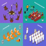 Religions People Isometric Concept. Isometric concept with people from religion buddhism, jainism, rastafarianism, voodoo during ritual or sermon isolated vector Stock Photos