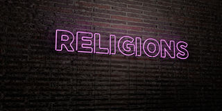 RELIGIONS -Realistic Neon Sign on Brick Wall background - 3D rendered royalty free stock image Stock Images