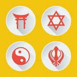 Religions of the world icons flat part 2. Religions of the world vector icons flat part 2 Royalty Free Stock Photo