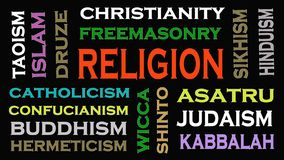 Religionskonzept-Wortwolke auf schwarzem Hintergrund stock abbildung