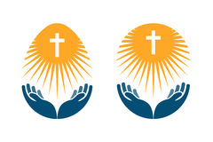 Religionsvektorlogo Kirche, beten oder Bibelikone lizenzfreie abbildung
