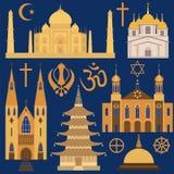Religionsymbolsuppsättning Arkivfoto