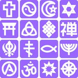 Religious 1. Set of 16 icons representing different kinds of religion Stock Photography