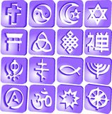 Religious 2. Set of 16 3D icons representing different kinds of religion Royalty Free Stock Image