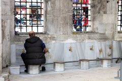 Religious activity. Old istanbul buildings, islamic washing before prayer, abdest stock photo