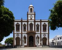 Agaete Church of the Concepction in Gran Canaria island, Spain. Religious architecture building on sunny day in Canary Islands. Popular landmark by main square stock photo