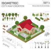 Religious architecture. Flat 3d isometric church and city map  Royalty Free Stock Photography
